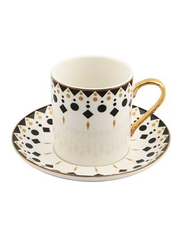 Vitale Style 6'lı Desenli Kahve Fincan Takımı Renkli
